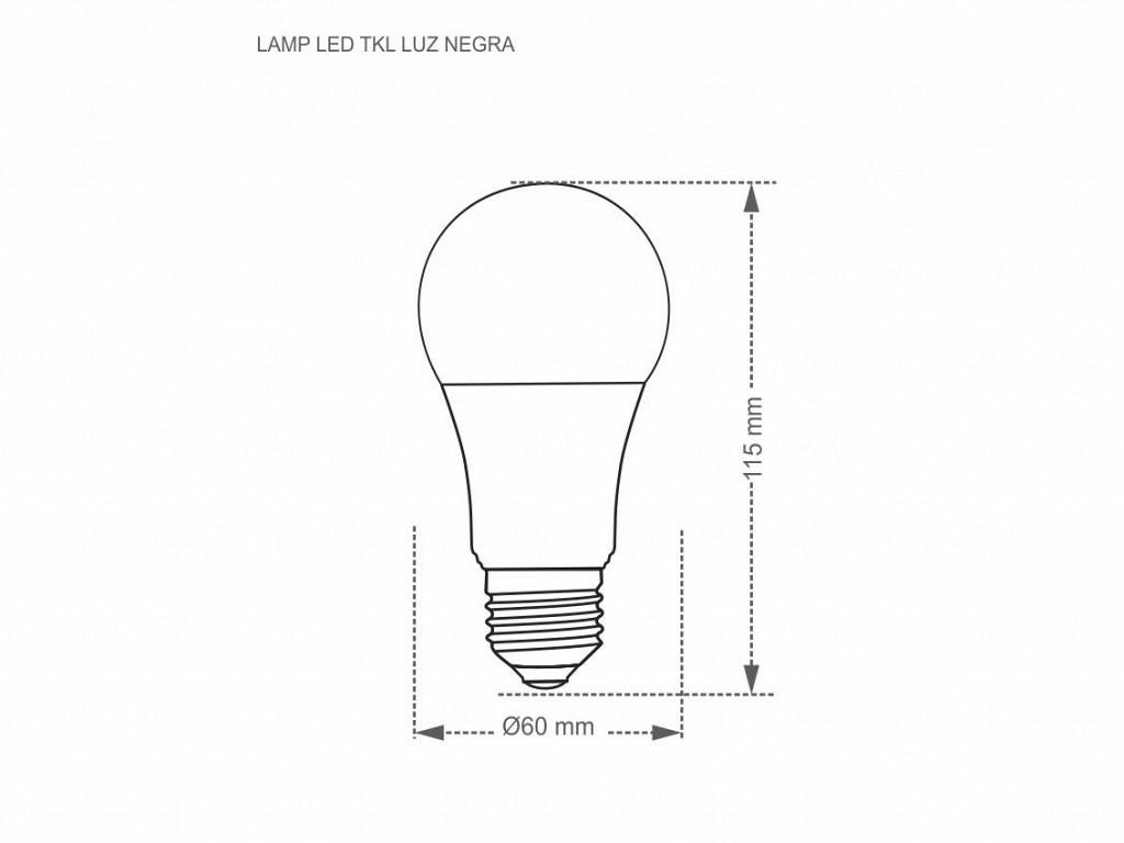 LÂMPADA LED TASCHIBRA TKL LUZ NEGRA 7W E27